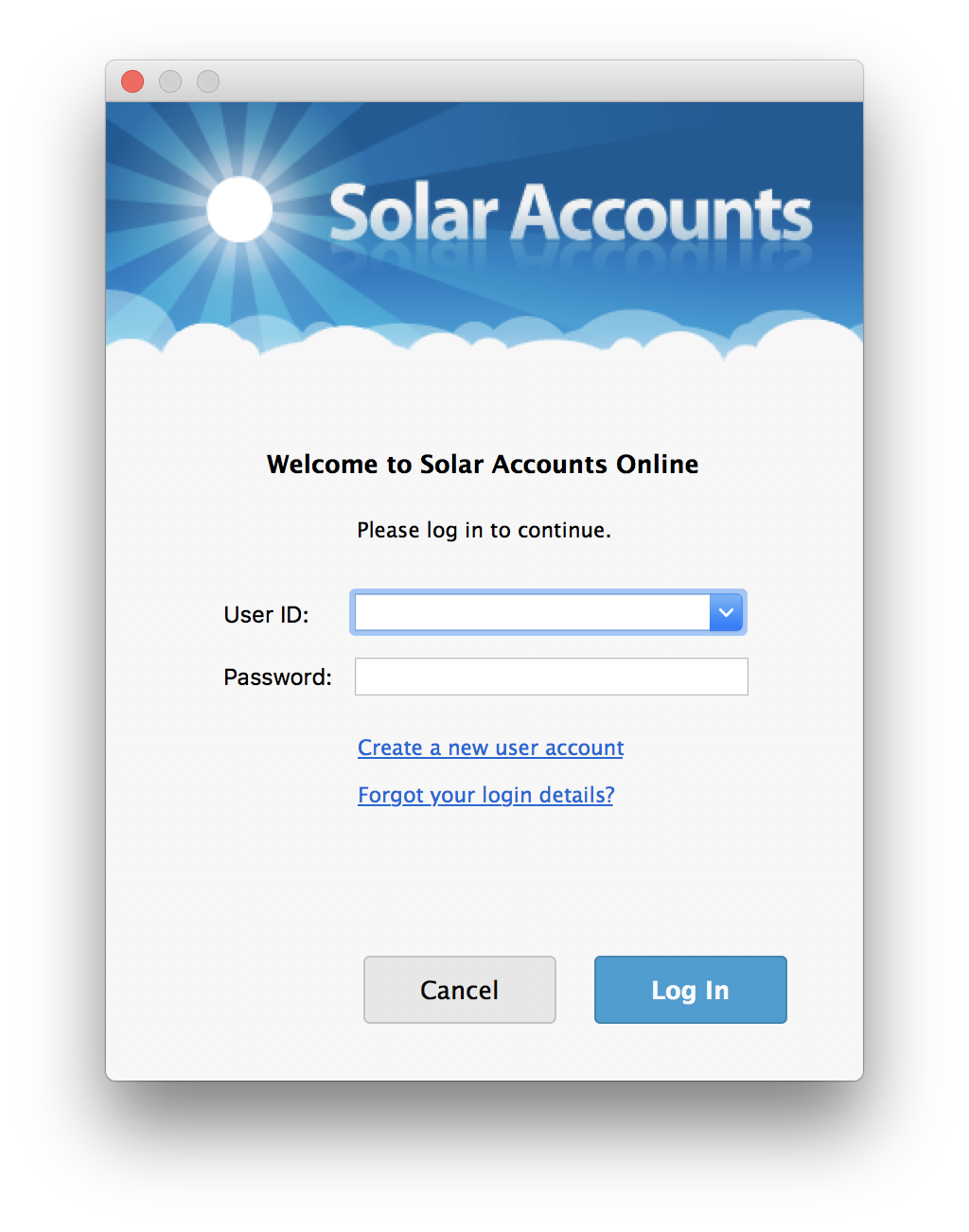 Screenshot of Solar Accounts Online login screen